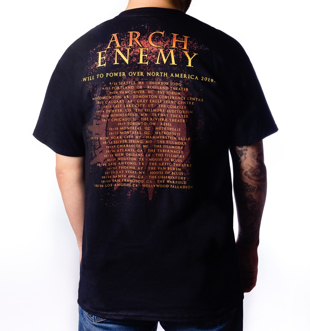 Arch Enemy First Day in Hell 2019 Tour tee back with Tour Dates