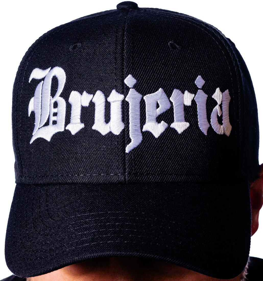 Brujeria logo embroidered on a hat close