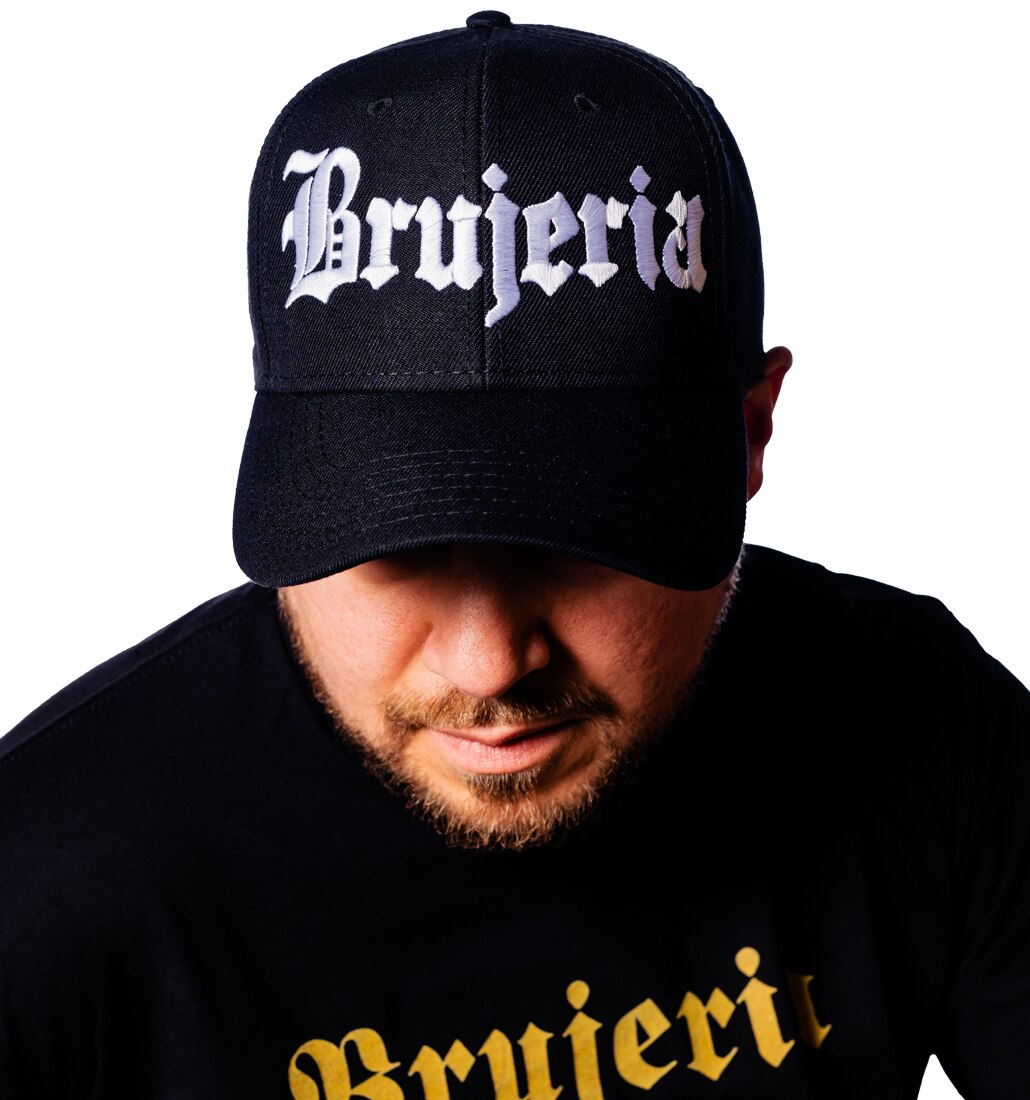 Brujeria logo embroidered on a hat