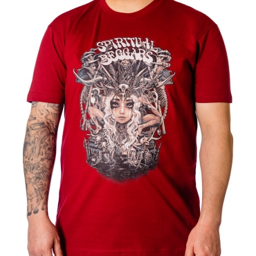 Spiritual Beggars Harvest t-shirt on deep red material