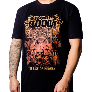 Rise of Heresy by The Troops of Doom t-shirt on model