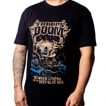 Between the Devil by The Troops of Doom t-shirt with model
