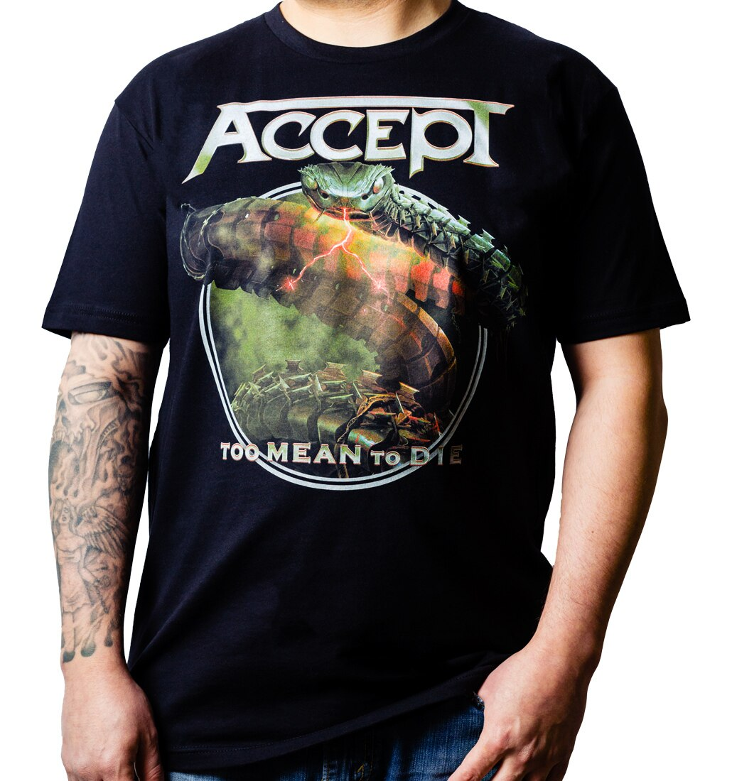 Accept Too Mean to Die t-shirt tee on model
