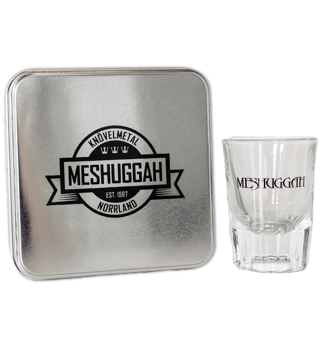 Meshuggah coaster set with tin rubber coasters shot glass version two