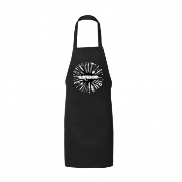 Carcass torn arteries butcher apron tools silverware cooking